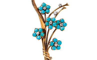 18kt Gold, Turquoise, and Diamond Flower Brooch, Van Cleef & Arpels