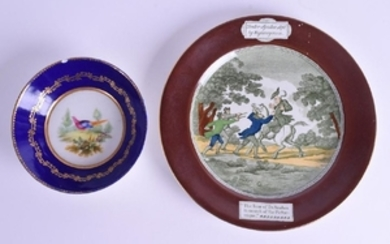 AN 18TH CENTURY SEVRES PORCELAIN SAUCER together with