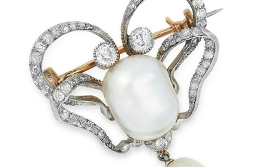 ANTIQUE NATURAL PEARL AND DIAMOND BROOCH set with a