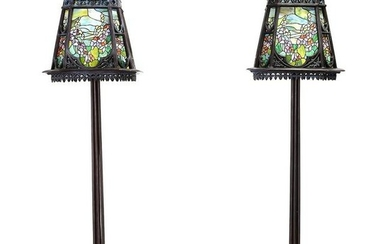 Art Nouveau Style Pair of Large Floor Lamps with Slag