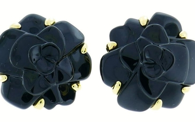 CHANEL Black Onyx Gold Camellia EARRINGS Collectable
