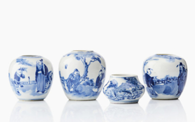 Four small Chinese blue and white waterpots