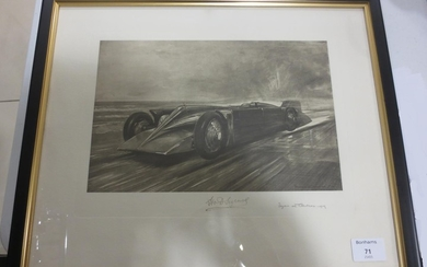 """Golden Arrow"" after Bryan de Grineau signed by H.O. D. Segrave,"
