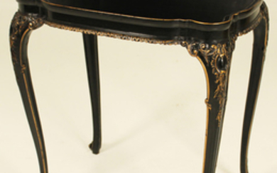 LOUIS XV STYLE LACQUERED TRAY TOP SILVER TABLE