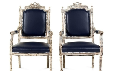 A Pair of Louis XVI Style Painted Fauteuils