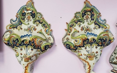 Pair of Mid 19th Century French Rouen Porcelain Floral