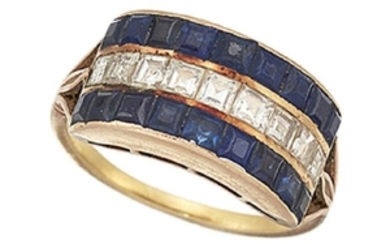 A sapphire and diamond ring, of half-hoop...