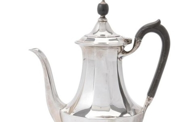 A silver facetted baluster coffee pot by Elkington & Co.