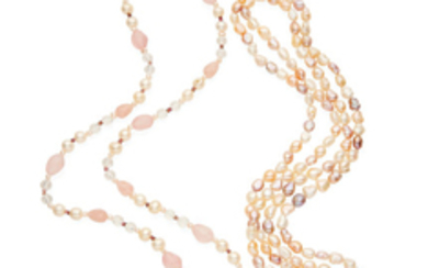 Two pearl and gem-set necklaces