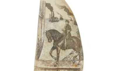 Two polychrome scrimshaw whale's teeth early 20th century Both...