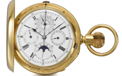 W. G. Schoof. An extremely fine, rare and large 18K gold hunter case two-train trip-minute repeating Grande and Petite Sonnerie keyless lever chronograph clockwatch with perpetual calendar, moon phases and lunar calendar, SIGNED W. G. SHOOF, 99 ST...