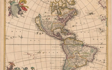 "De Wit's Derivative of Visscher's Classic Map of the Americas with the Island of California, ""Novissima et Accuratissima Totius Americae Descriptio"", Wit, Frederick de"