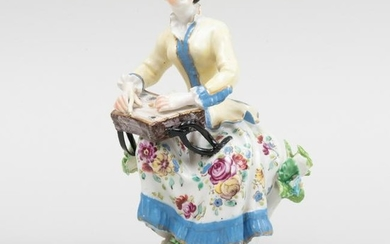 English Porcelain Figure of a Female Musician, Possibly