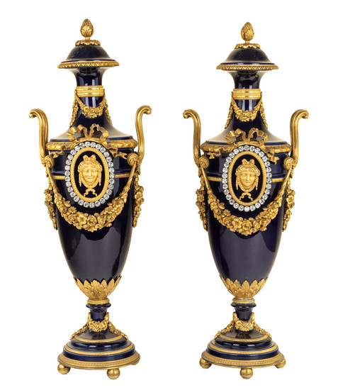 A PAIR OF FRENCH SEVRES-STYLE ORMOLU-MOUNTED VASES, LATE 19TH CENTURY