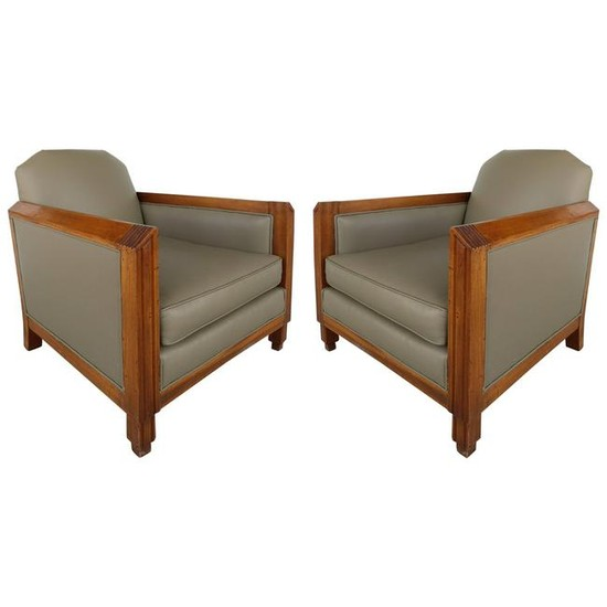 French 1940s Pair of Skyscraper Club Chairs manner of