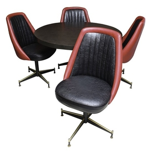 Lot Art Mid Century Modern Game Table And Four Swivel Chairs