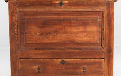 Early Yellow Pine Paneled Chest over Drawer