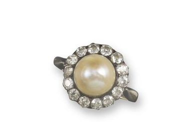 A 19th century pearl and diamond cluster ring, the…