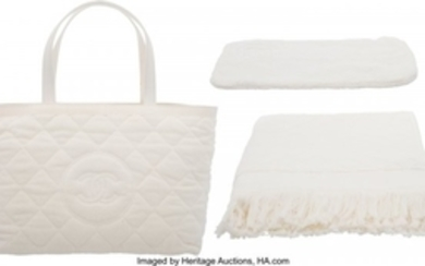 16072: Chanel Set of Two: White Quilted Terry Cloth Bea