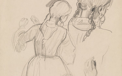 ALFRED DEHODENCQ (Paris 1822 1882 Paris) Sheet of Studies of a Young Woman with Braided Hair, seen from behind.