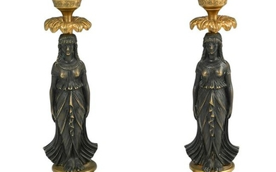 Pair of Bronze Figural Candle Holders