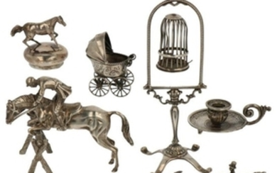(6) Lot miniatures including bird cage, sconce, pram, horse and jockey silver.