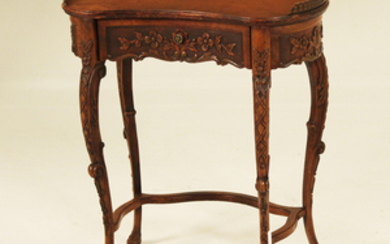 LADIES KIDNEY SHAPED WALNUT WRITING TABLE