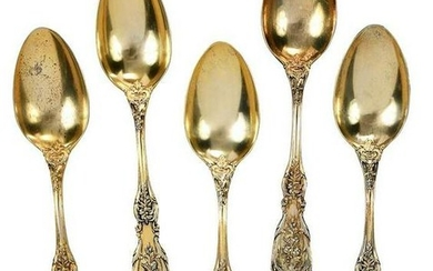Set of 12 Francis I Gilt Sterling Soup Spoons