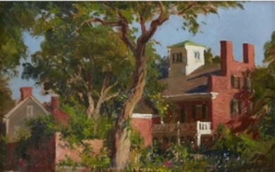 RUDOLPH COLAO (american, 1927-2014) UNTITLED (BRICK HOUSE WITH GARDEN)...