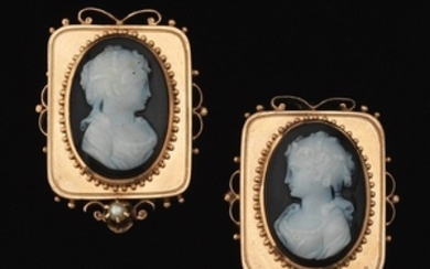 Victorian Gold, Carved Agate Cameo and Seed Pearl Pair of Earrings