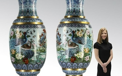 (2) Monumental Chinese cloisonne peacock vases