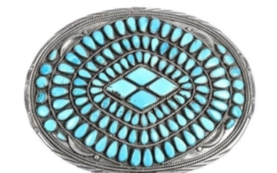 Large Navajo Silver and Turquoise Belt Buckle