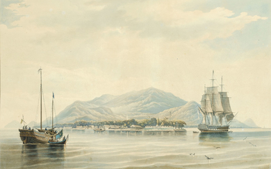After William John Huggins, Pulo Penang or Prince of Wales Island, Straits of Malacca. From an Original Sketch taken on the spot by W. J. Huggins and Painted for D. W. Brown, Esqr. of that Place, by C. Rosenberg