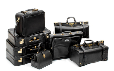 An eight piece 'Rolls-Royce' leather luggage set,