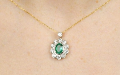An emerald and brilliant-cut diamond cluster pendant,