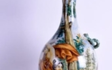 A LARGE 19TH CENTURY ITALIAN MAJOLICA EWER painted with