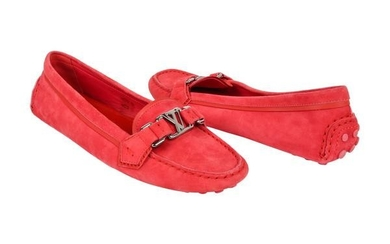 Louis Vuitton Shoe Pink Raspberry Suede Loafer /