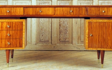 MID CENTURY MODERN MAHOGANY MAPLE CONSOLE TABLE