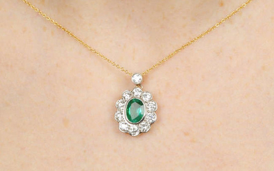 An oval-shape emerald and brilliant-cut diamond cluster pendant, on chain.
