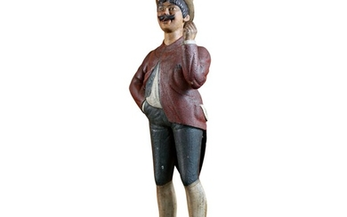 RARE AND IMPORTANT CARVED AND POLYCHROME PAINT-DECORATED PINE RACETRACK TOUT TRADE FIGURE, ATTRIBUTED TO CHARLES PARKER DOWLER (1841–1941),, PROVIDENCE, RHODE ISLAND, CIRCA 1880
