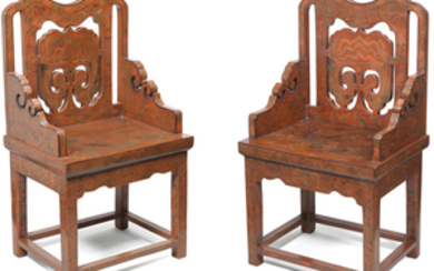 A rare pair of qianyin and tianqi lacquer 'phoenix' armchairs