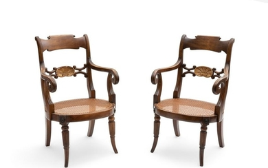 Pair of Regency parcel gilt beechwood armchairs