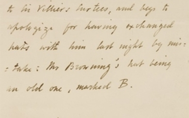 Robert Browning- Autograph Letter: Written in the third person