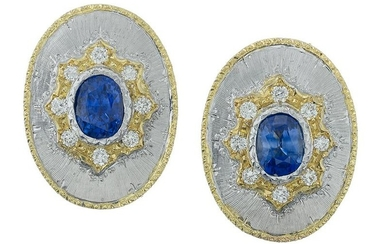 Pair of Sapphire and Diamond Gold Earrings
