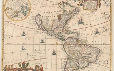 """Scarce Map of the Americas - One of the Earliest Maps by Philip Lea, """"A New Mapp of America Devided According to the Best and Latest Observations and Discoveries Wherein Are Described by Thear Proper Names the Seaverall Countries That Belonge to ye..."""