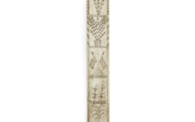 Scrimshaw whale bone busk 19th century Decorated with crossed...