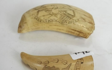 Two Scrimshaw Tooth Carvings, One Double-Sided