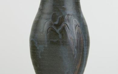 Warren MacKenzie Studio Pottery Vase Blue and Gra