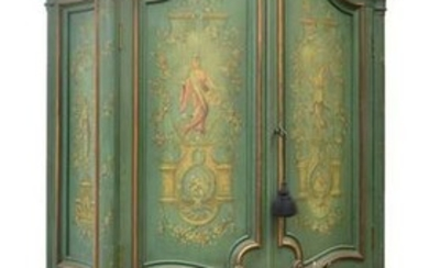 NEOCLASSICAL STYLE PAINTED CABINET ON STAND