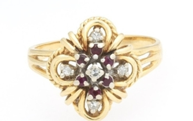Ladies' Gold, Diamond and Ruby Ring